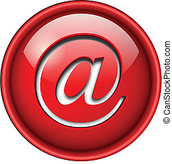 Email mail icon, button, 3d red glossy circle.