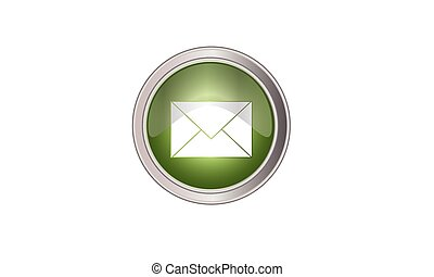email icon button round green