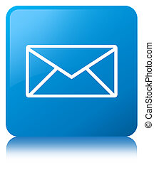 Email icon cyan blue square button - Email icon isolated on...