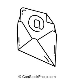 Email Icon. Doodle Hand Drawn or Outline Icon Style