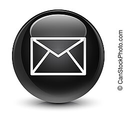 Email icon glassy black round button