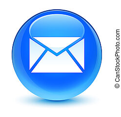 Email icon glassy cyan blue round button