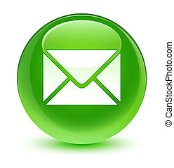 Email icon glassy green round button