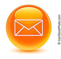 Email icon glassy orange round button