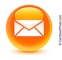 Email icon glassy orange round button