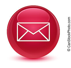 Email icon glassy pink round button