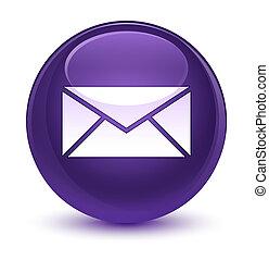 Email icon glassy purple round button