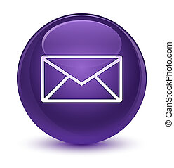 Email icon glassy purple round button