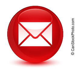 Email icon glassy red round button