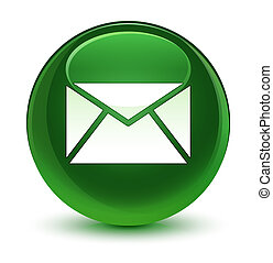 Email icon glassy soft green round button
