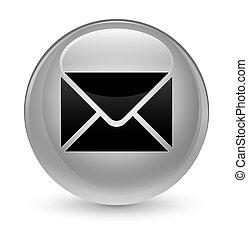 Email icon glassy white round button