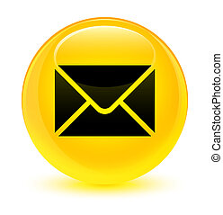 Email icon glassy yellow round button