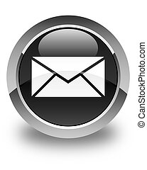 Email icon glossy black round button 2