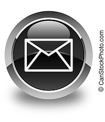 Email icon glossy black round button