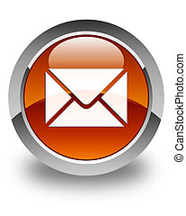 Email icon glossy brown round button