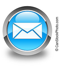Email icon glossy cyan blue round button