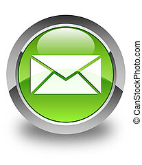 Email icon glossy green round button 2
