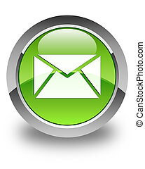 Email icon glossy green round button 3