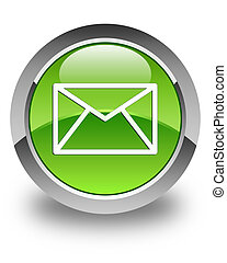 Email icon glossy green round button 4