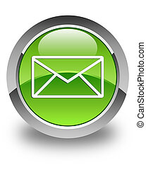 Email icon glossy green round button 5