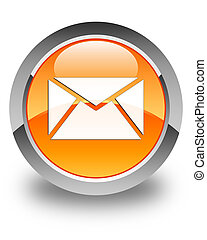 Email icon glossy orange round button 3