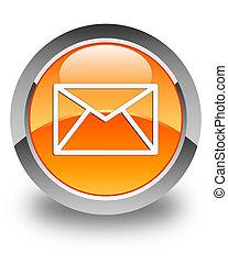 Email icon glossy orange round button 4