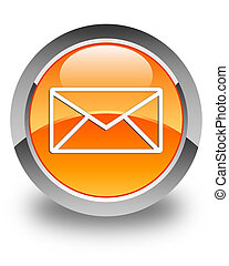 Email icon glossy orange round button 5