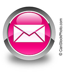 Email icon glossy pink round button