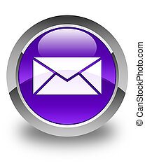 Email icon glossy purple round button
