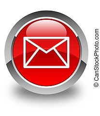 Email icon glossy red round button