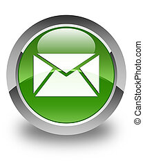 Email icon glossy soft green round button