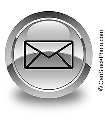 Email icon glossy white round button