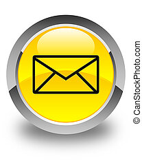 Email icon glossy yellow round button
