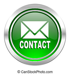 email icon, green button, contact sign