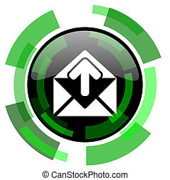 email icon, green modern design isolated button, web and mobile app design illustration