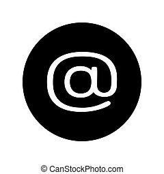 Email icon in black circle. E-mail symbol