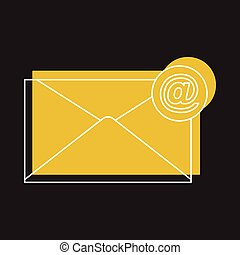 Email icon in doodle style vector illustration for design and web isolated