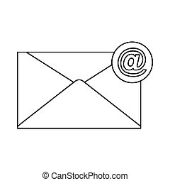 Email icon in outline style vector illustration for design and web isolated