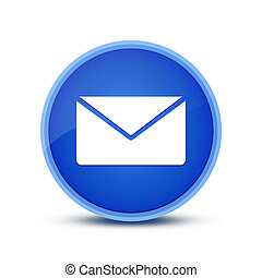 Email icon isolated on blue round button abstract