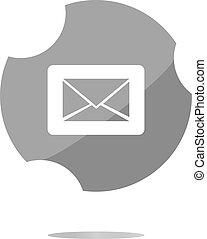 Email icon on glossy round button . Trendy flat style sign isolated on white background