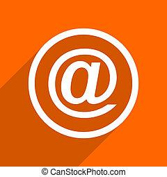email icon. Orange flat button. Web and mobile app design illustration