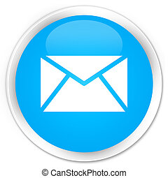 Email icon premium cyan blue round button