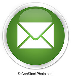 Email icon premium soft green round button