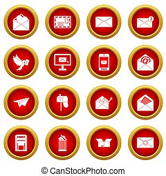 Email icon red circle set