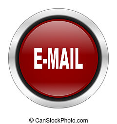 email icon, red round button isolated on white background, web design illustration
