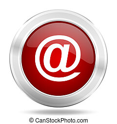 email icon, red round glossy metallic button, web and mobile app design illustration