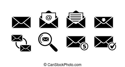 Email icon set in black on white background