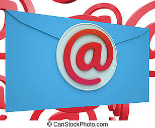 Email Icon Shows Online Mailing Communication Support -...