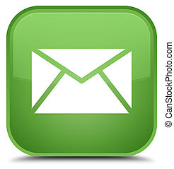 Email icon special soft green square button