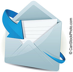 Illustration of an email inbox reception icon envelope with blue arrow orbiting around, for contact us and feedback symbols